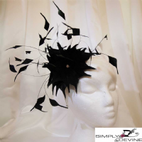 Black Feather Race Day Wedding Guest Fascinator NR326